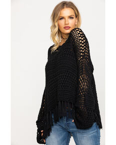 Show Me Your Mumu Women's Blake Pullover Crochet Sweater, Black, hi-res