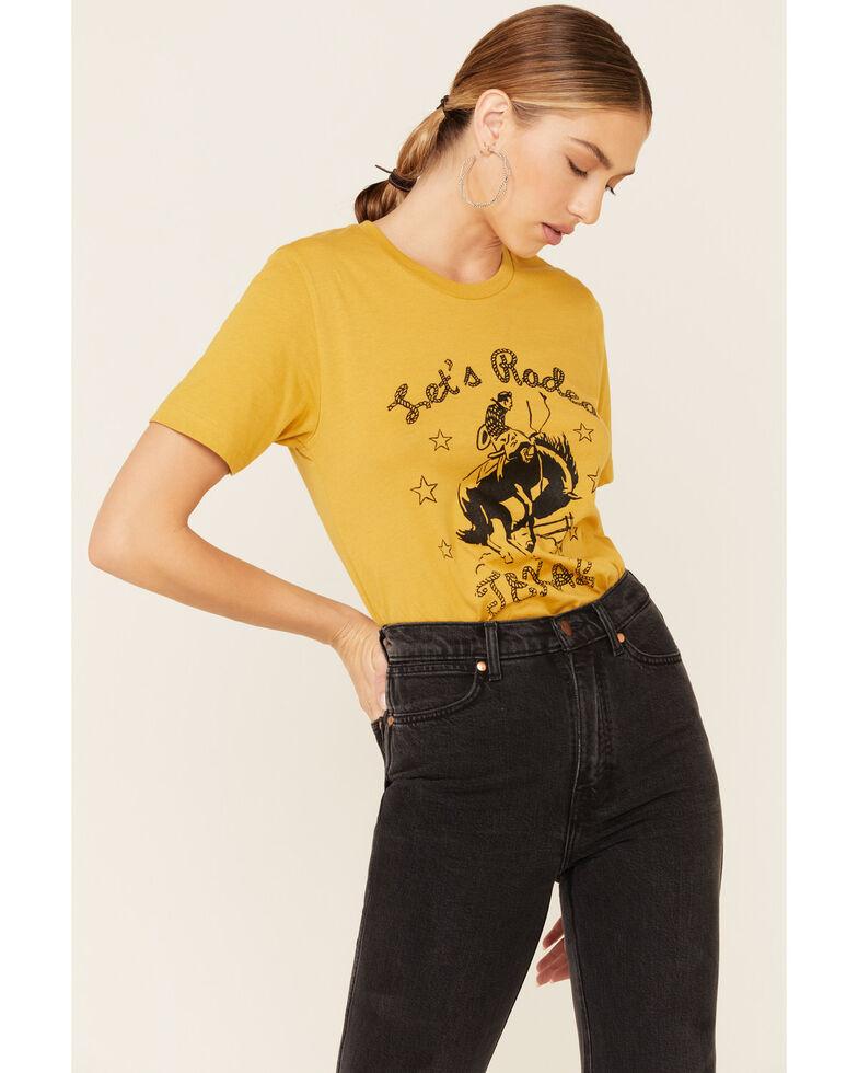 Ali Dee Women's Mustard Let's Rodeo Texas Graphic Tee, Mustard, hi-res