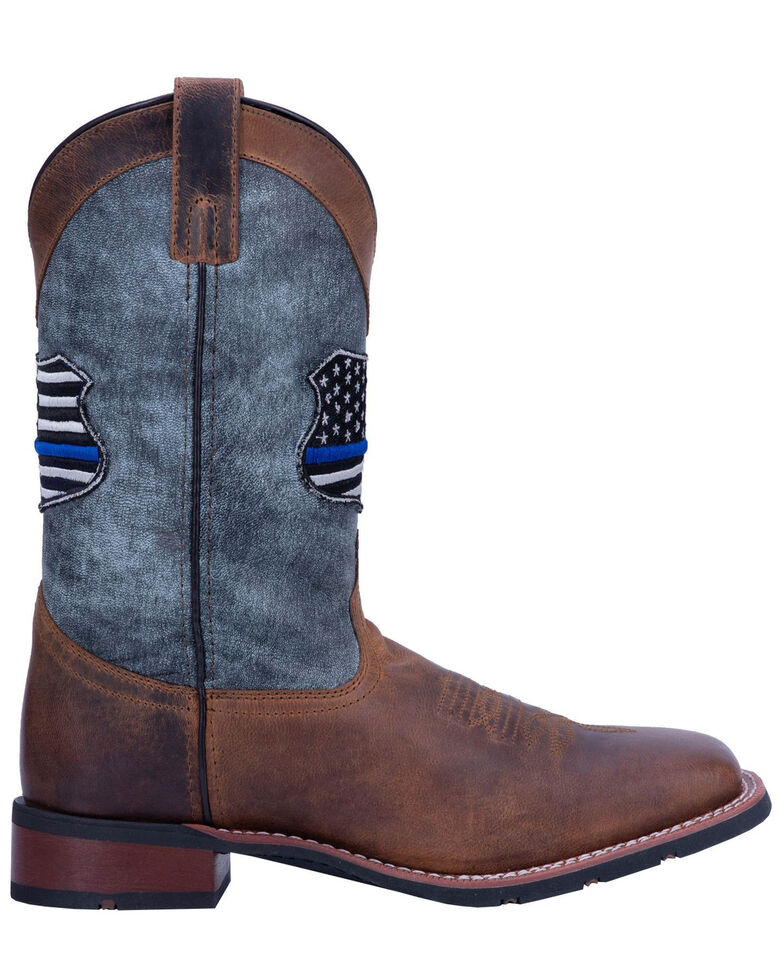 Laredo Men's We Back The Blue Western Boots - Wide Square Toe, Black, hi-res