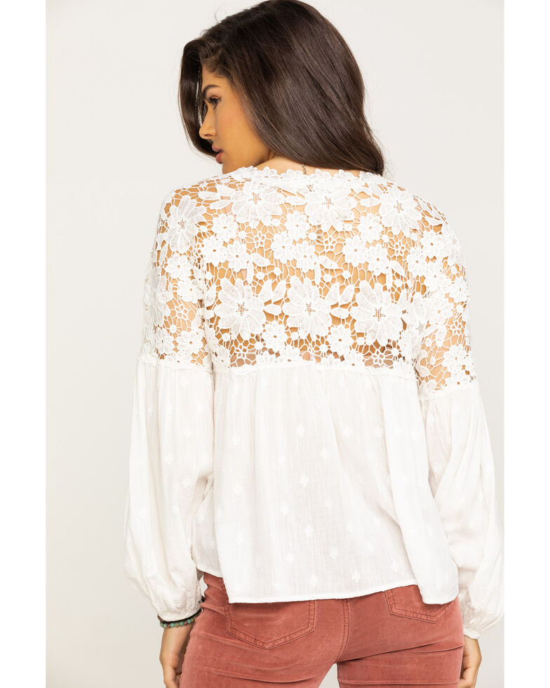 Free People Women's Lina Lace Top, White, hi-res