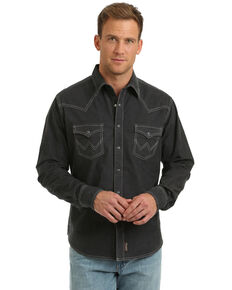 Wrangler Retro Men's Charcoal Solid Long Sleeve Western Shirt , Charcoal, hi-res