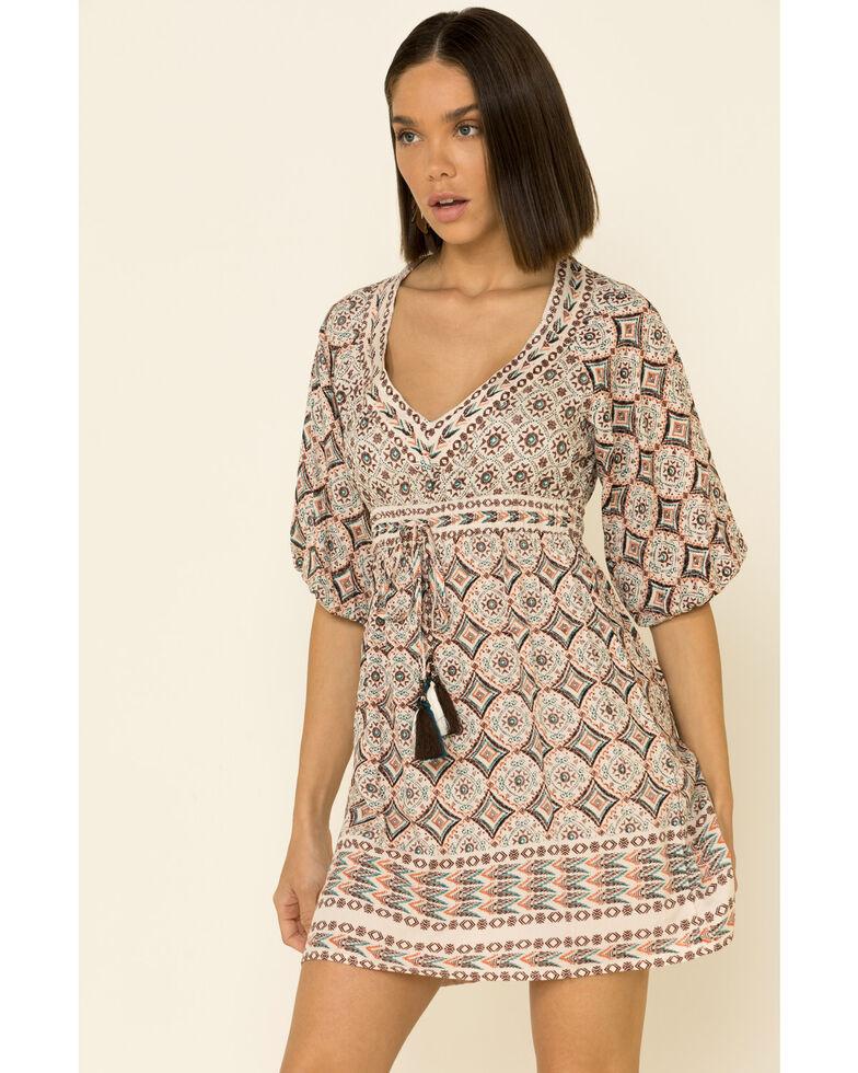 Angie Women's Ivory Aztec Tassel Dress, Ivory, hi-res