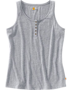 Carhartt Women's Lockhart Stretch Cotton Henley Tank Top, Grey, hi-res