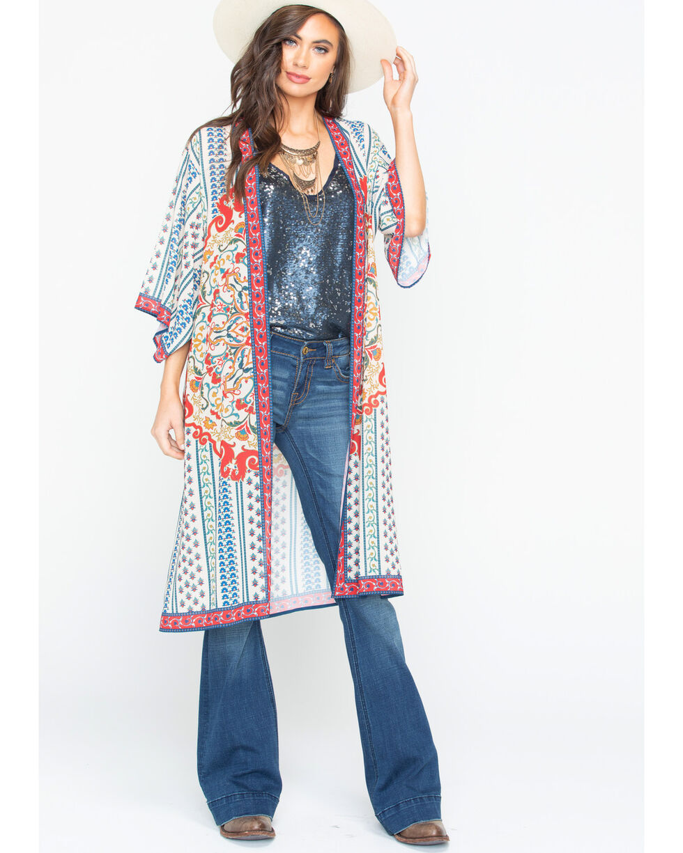 Flying Tomato Women's Border Print Kimono , Ivory, hi-res