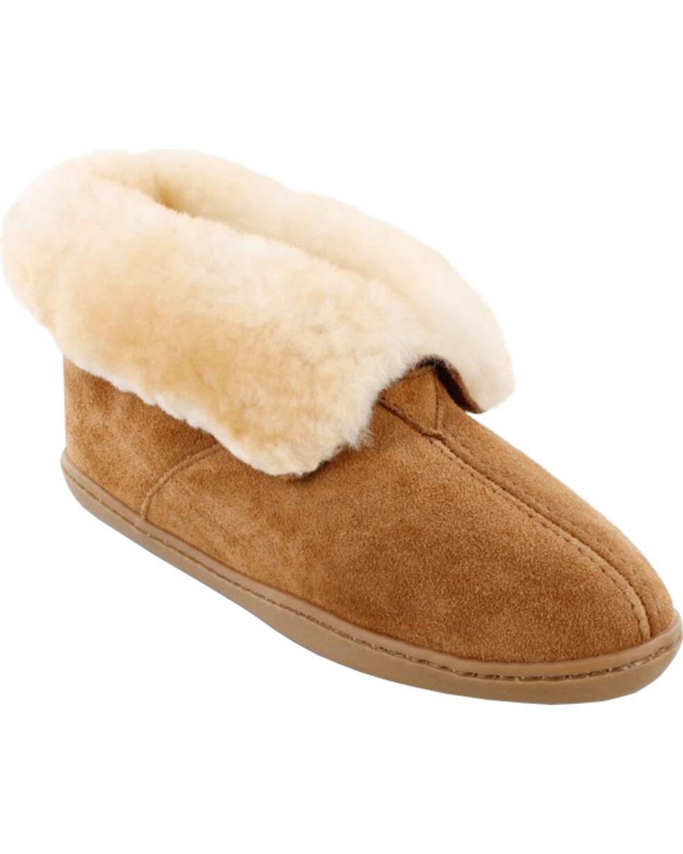 Minnetonka Women's Sheepskin Ankle Boots, Tan, hi-res