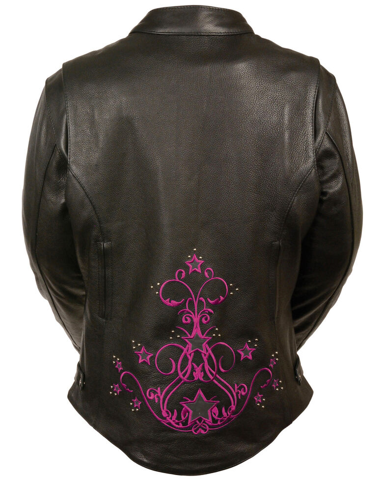 Milwaukee Leather Women's Reflective Star Leather Jacket - 4X, , hi-res