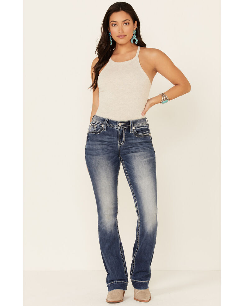 Miss Me Women's Modern Love Bootcut Jeans, Blue, hi-res