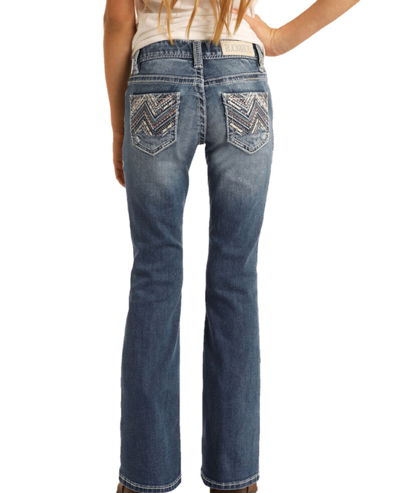 Rock & Roll Denim Girls' Vintage Faded Extra Stretch Bootcut Jeans, Blue, hi-res