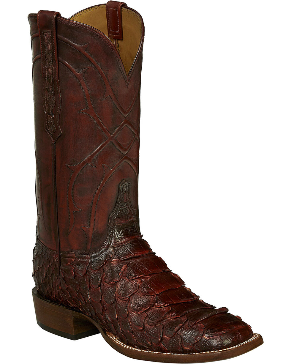 Lucchese Handmade Wine Perry Giant Python Cowboy Boots - Square Toe , Wine, hi-res