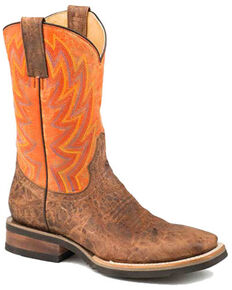 Roper Men's Fireworks Western Boots - Square Toe, Brown, hi-res