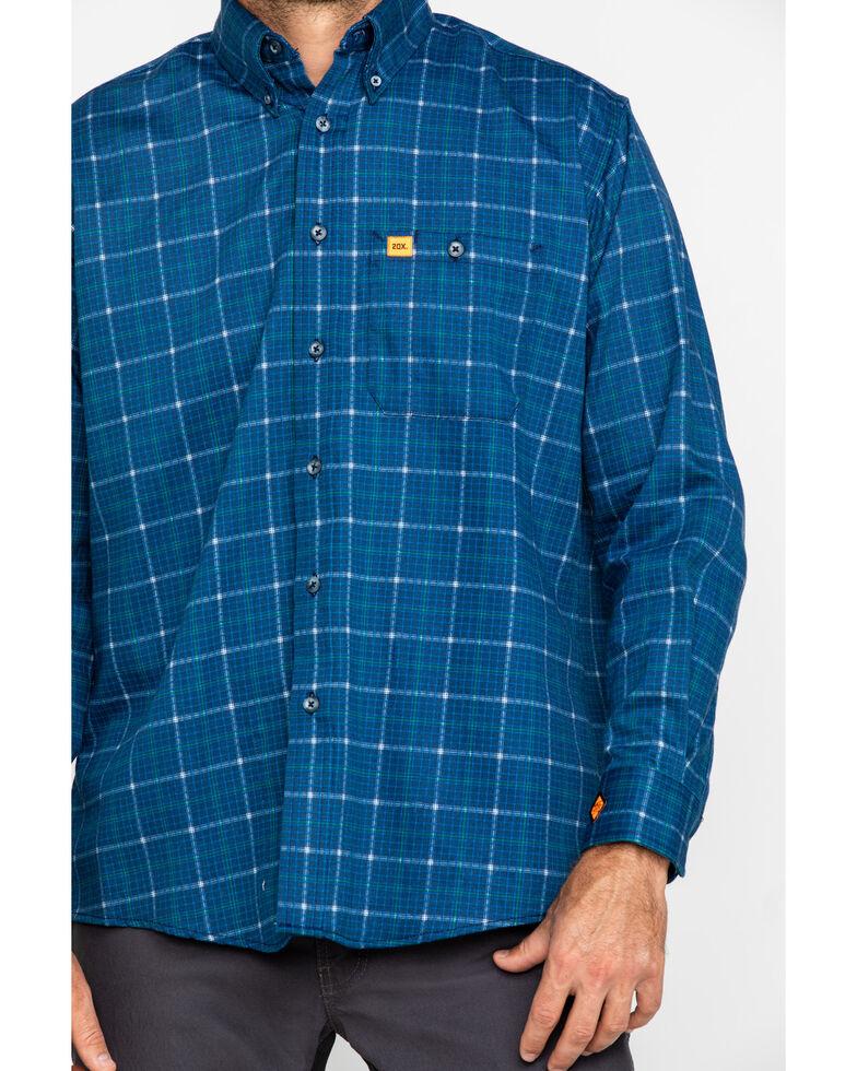 Wrangler Men's Blue 20X Flame Resistant Plaid Shirt - Tall , Blue, hi-res