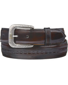 Lucchese Men's Black Cherry Goatskin Leather Belt, Black Cherry, hi-res