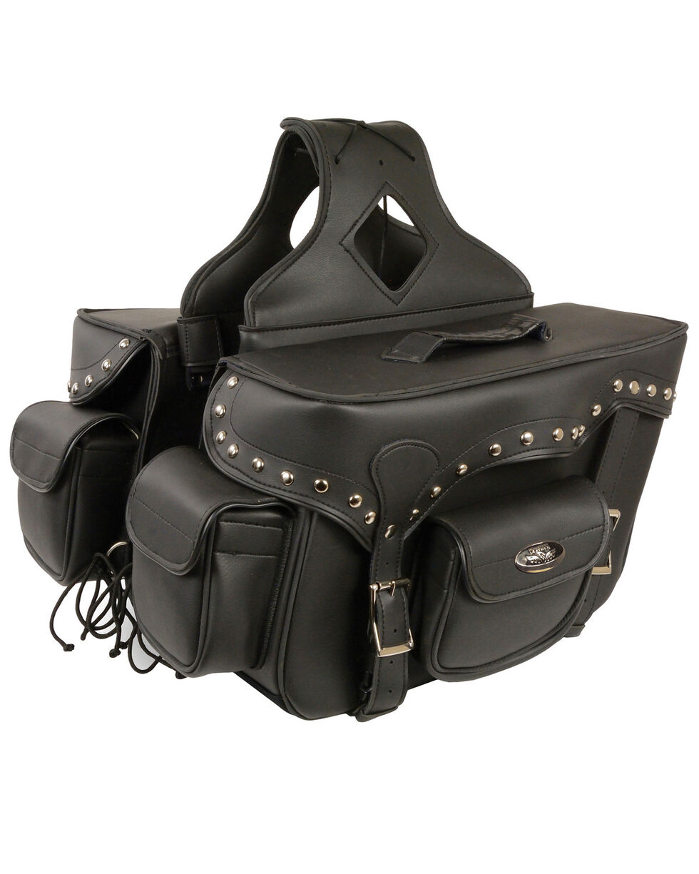 Milwaukee Leather Reflective Double Front Pocket Studded Throw Over Saddle Bag, Black, hi-res