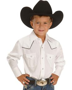 Ely Cattleman Kid's Solid Print Long Sleeve Western Shirt, White, hi-res