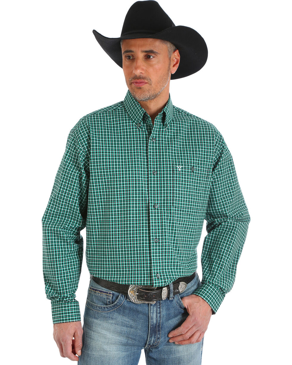 Wrangler 20X Men's Green/Black/White Advanced Comfort Competition Shirt, Green, hi-res