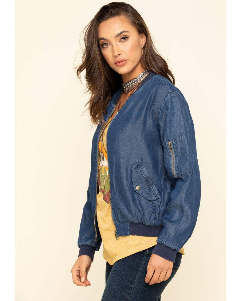 Johnny Was Women's Blue Denim Yucca Bomber Jacket, Blue, hi-res
