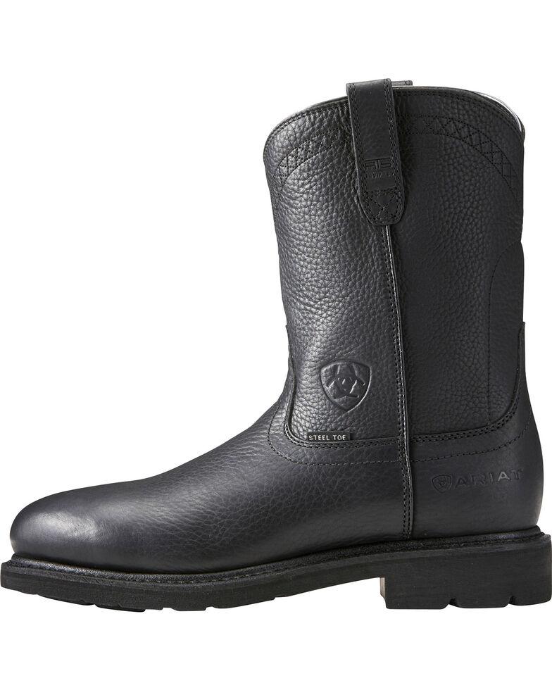 Ariat Sierra Men's Black Work Boots - Steel Toe, Black, hi-res