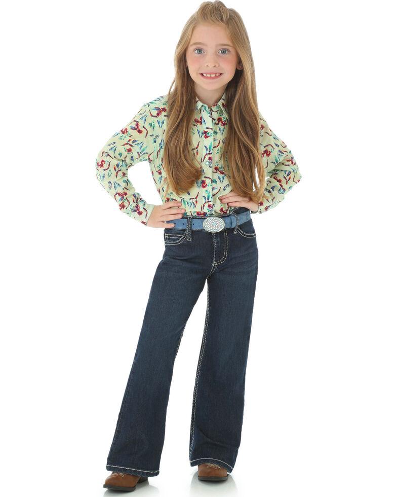 Wrangler Girls' Dark Wash Boot Cut Jeans, Indigo, hi-res