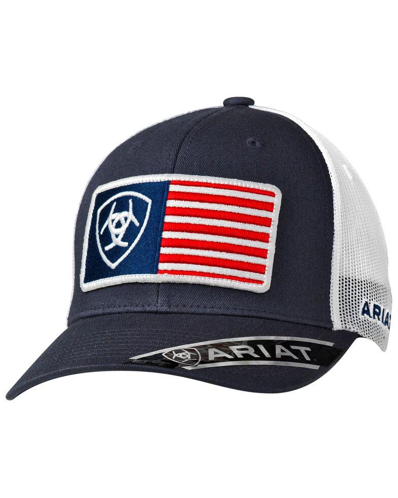 Ariat Men's Navy USA Patch Trucker Cap, Navy, hi-res