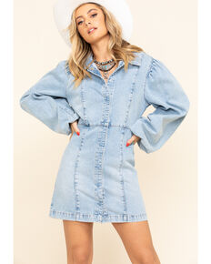 Free People Women's Light Denim Mia Dress, Blue, hi-res