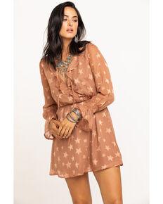 En Creme Women's Dusty Mauve Star Print Surplice Dress, Mauve, hi-res