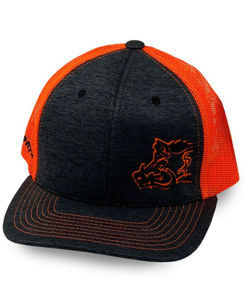Oil Field Hats Men's Orange Sniper Pig Puff Outline Mesh-Back Ball Cap, Black, hi-res
