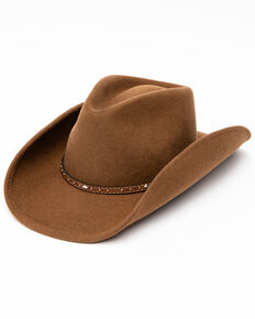 Cody James Men's Fawn Pinch Front Leather Stud Band Wool Hat , Brown, hi-res