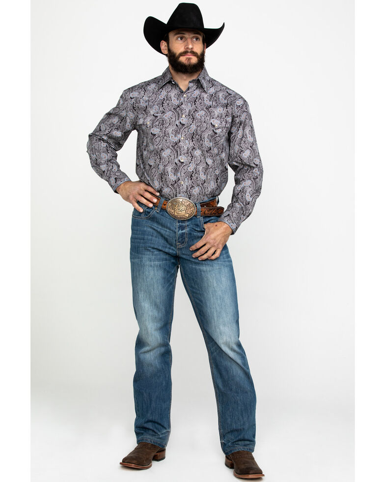 Rough Stock By Panhandle Men's Ventura Paisley Print Long Sleeve Western Shirt , Chocolate, hi-res