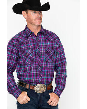 Wrangler 20X Men's Purple Plaid Long Sleeve Competition Advanced Shirt  , Black/purple, hi-res