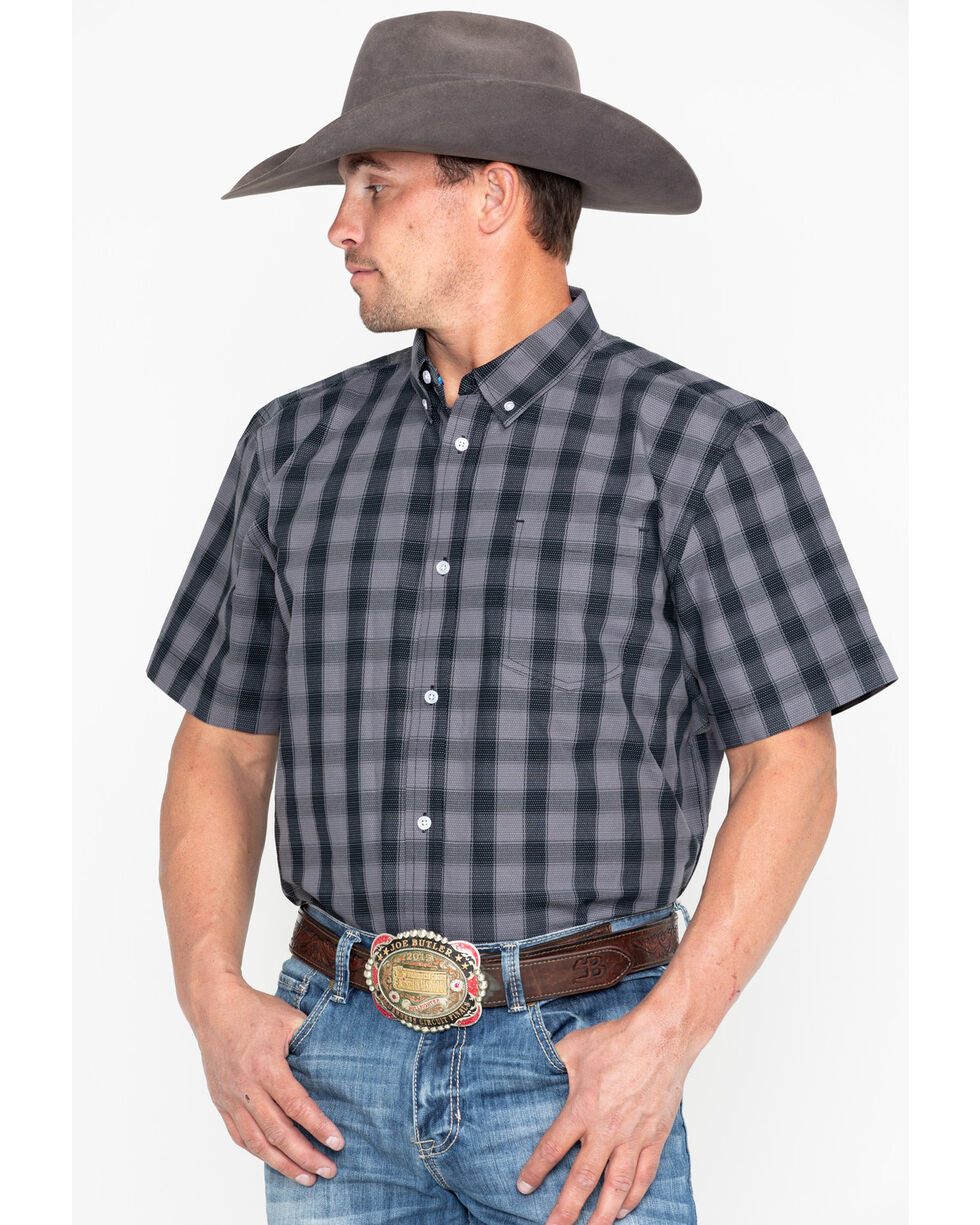 Cody Core Men's Checked Out Small Plaid Short Sleeve Western Shirt - Tall , Black, hi-res