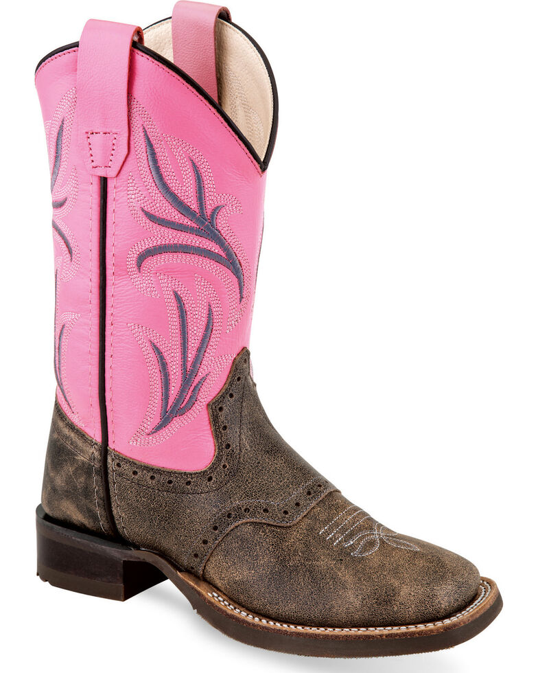 Old West Girls' Distressed Brown/Pink Embroidered Cowgirl Boots - Square Toe, Chocolate, hi-res