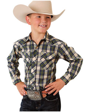 Roper Boys' Blue Classic Plaid Western Shirt, Blue, hi-res