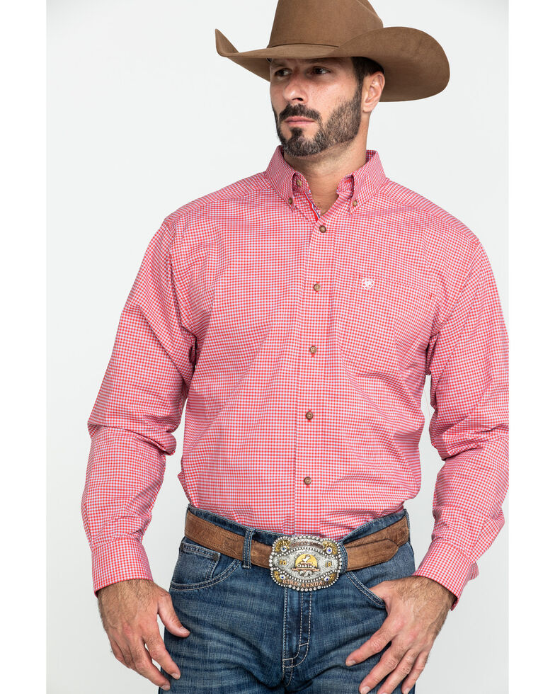 Ariat Men's Grover Small Plaid Long Sleeve Western Shirt , Red, hi-res