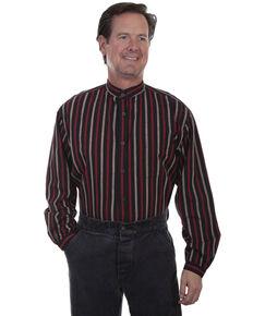Rangewear by Scully Men's Black Stripe Long Sleeve Western Shirt, Black, hi-res