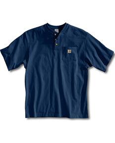 Carhartt Short Sleeve Henley Work Shirt - Big & Tall, Navy, hi-res