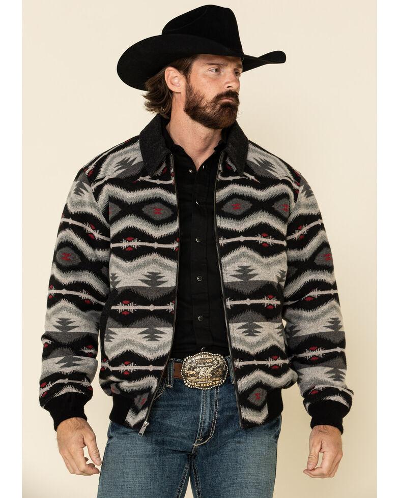 Powder River Outfitters Men's Black Aztec Print Wool Bomber Coat , Black, hi-res