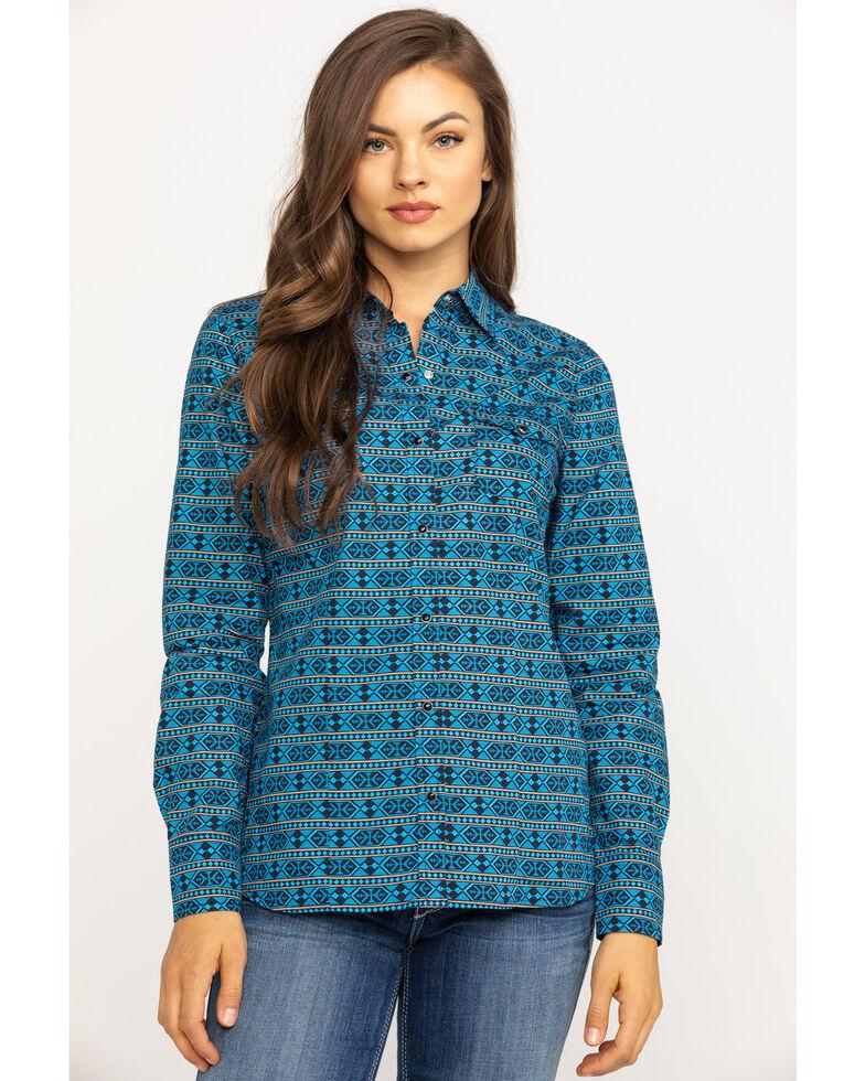 West Made Women's Hex Aztec Long Sleeve Western Shirt, Blue, hi-res