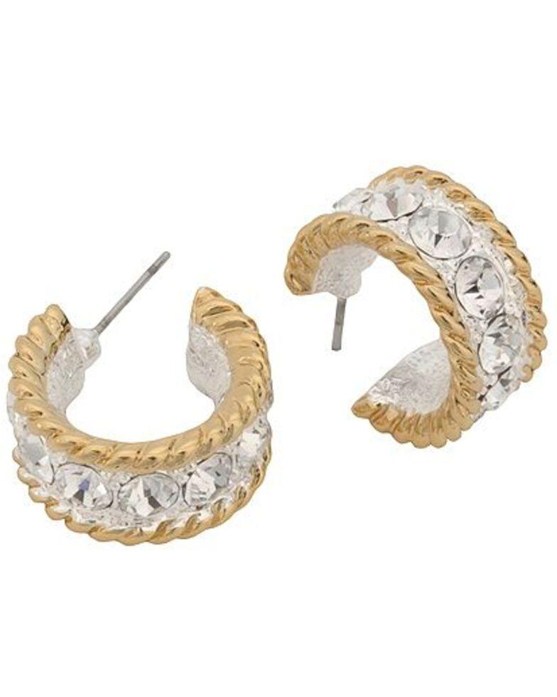 Montana Silversmiths Women's Roped CZ Cuff Earrings, Silver, hi-res