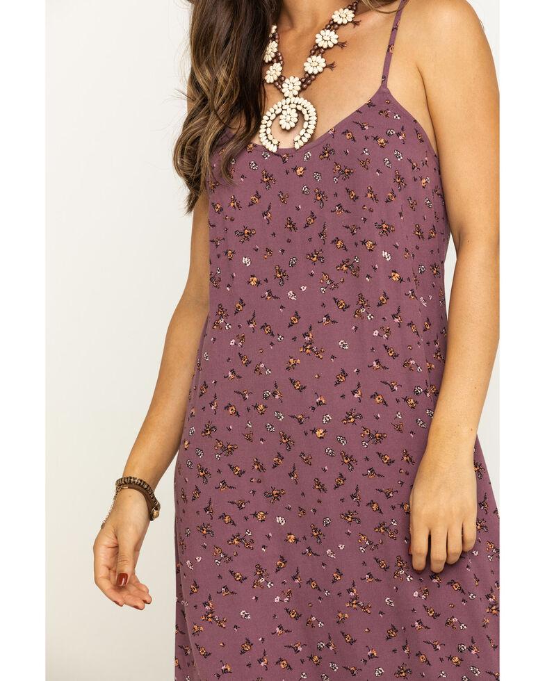 Eyeshadow Women's Plum Floral Slip Midi Dress, Lavender, hi-res