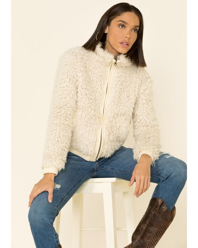 Angie Women's Cream Zip-Front Faux Fur Jacket , Cream, hi-res
