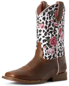 Ariat Youth Girls' Gringa Western Boots - Wide Square Toe, Brown, hi-res