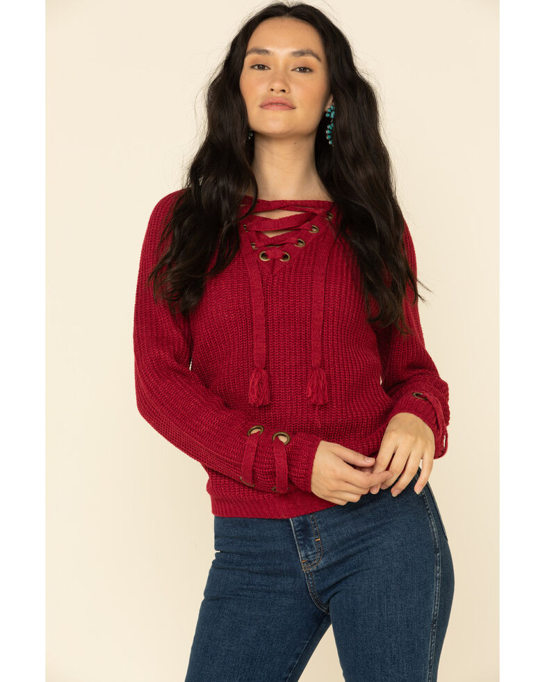 Rock & Roll Denim Women's Burgundy Lace Up Sweater , Burgundy, hi-res