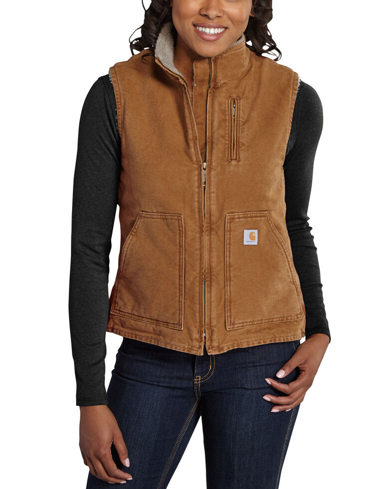 Carhartt Women's Mauve Sandstone Mock-Neck Vest, Brown, hi-res