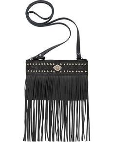 Shyanne® Women's Black Fringe Crossbody Bag, Black, hi-res