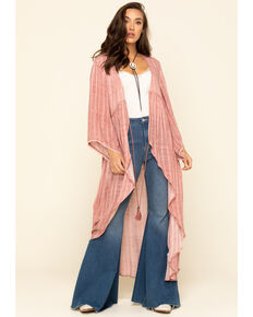 Ariat Women's Pink Clam Kimono, Pink, hi-res