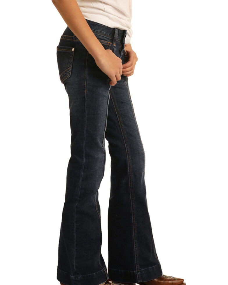 Rock & Roll Denim Girls' Dark Wash Seamed Trouser, Blue, hi-res