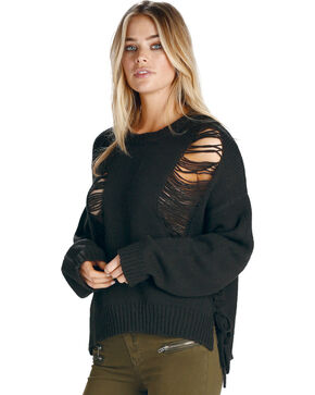 Elan Women's Black Ripped Lace Up Sweater , Black, hi-res