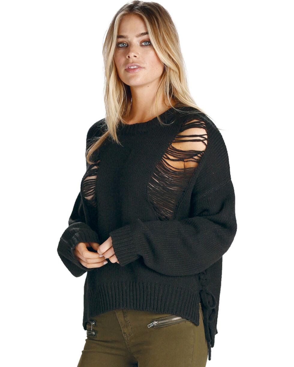 Elan Women's Black Ripped Lace Up Sweater , Black, hi-res