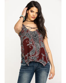 Shyanne Women's Burgundy Paisley Crisscross Tank Top, Burgundy, hi-res