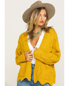 Angie Women's Mustard Scallop Knit Cardigan, Dark Yellow, hi-res